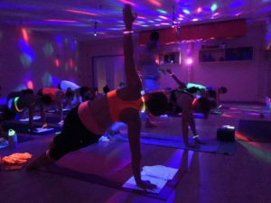 Side Plank Black Light Yoga